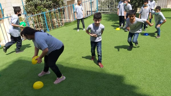 children doing PE in the Holy Land
